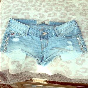 Hollister Low Cut Sparkle Ripped Jean Shorts